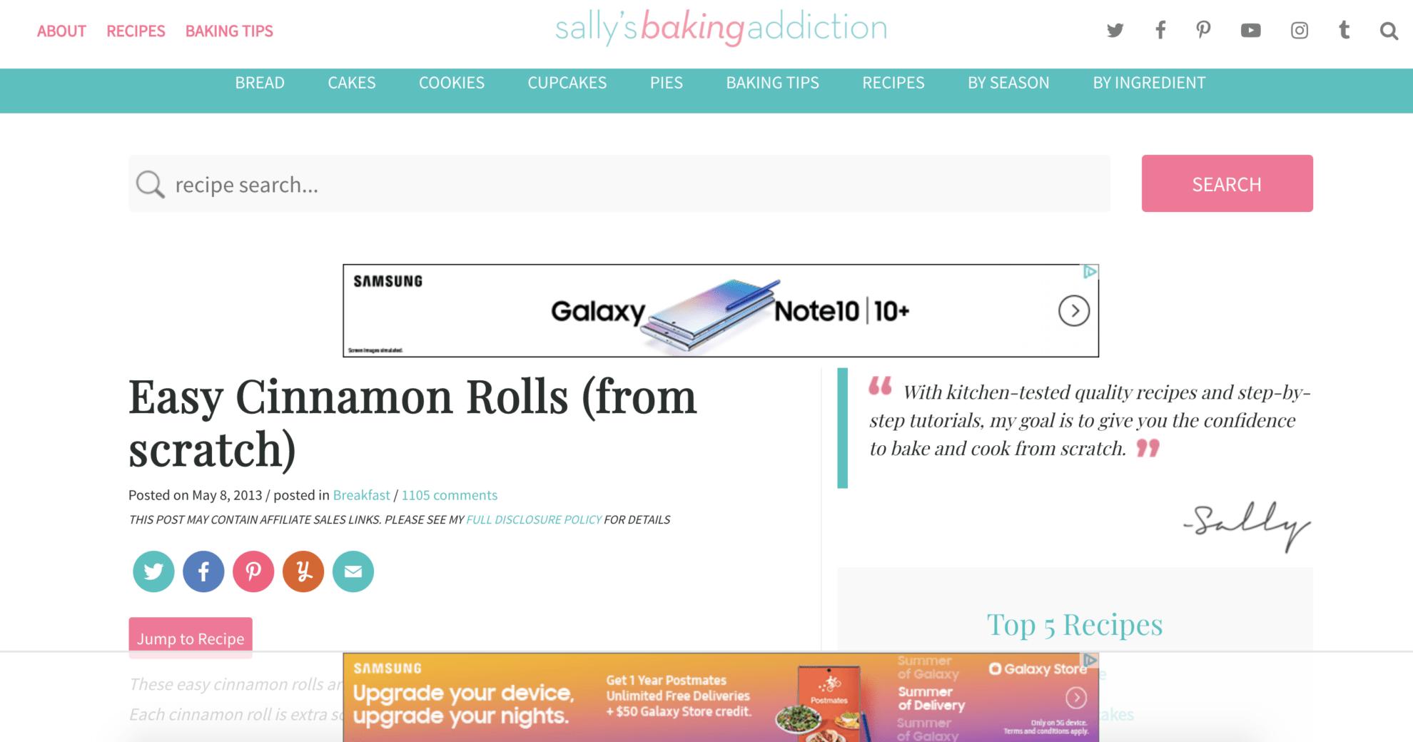 URL Contextual Targeting Cinnamon Bun Example