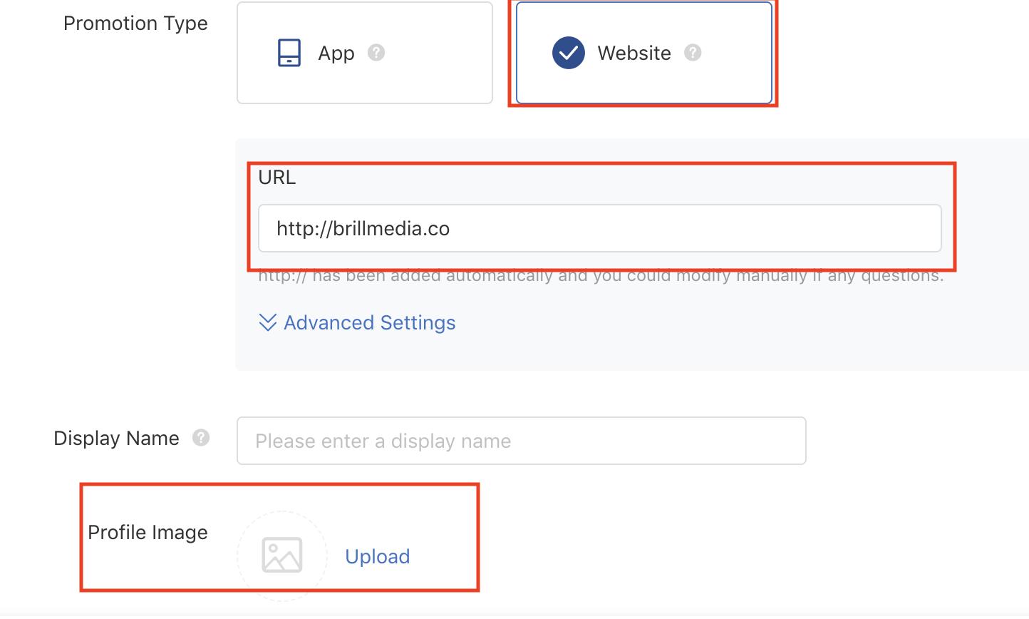 TicTok Promotion Type selection tool